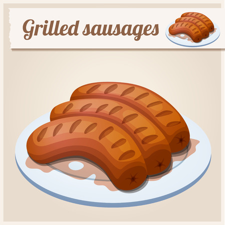 fried: Grilled sausages. Detailed Vector Icon. Series of food and drink and ingredients for cooking.