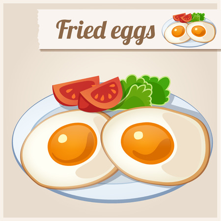 fried: Detailed Icon. Fried eggs for breakfast. Illustration