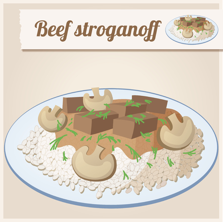 russian cuisine: Detailed Icon Beef stroganoff Illustration