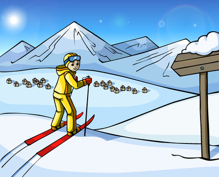 outdoor event: Cheerful skier stand on a snowy mountain