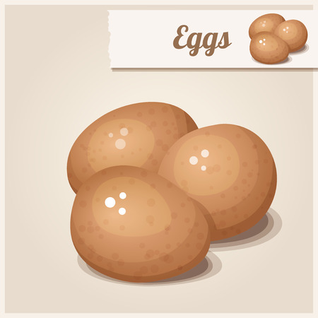 raw egg: Detailed Icon Three brown eggs Illustration