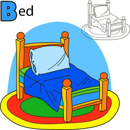 cama: Cama. Colorear página del libro. Ilustración vectorial de dibujos animados.