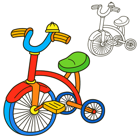 niños en bicicleta: Bicicleta. Colorear página del libro. Ilustración vectorial de dibujos animados.