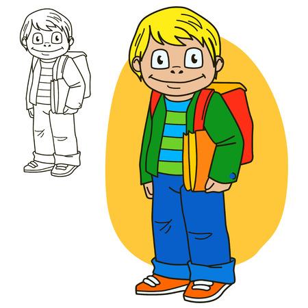 libro caricatura: Colegial. Colorear página del libro. ilustración vectorial de dibujos animados. Vectores