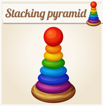 stacking: Stacking toy pyramid. Cartoon vector illustration. Series of childrens toys