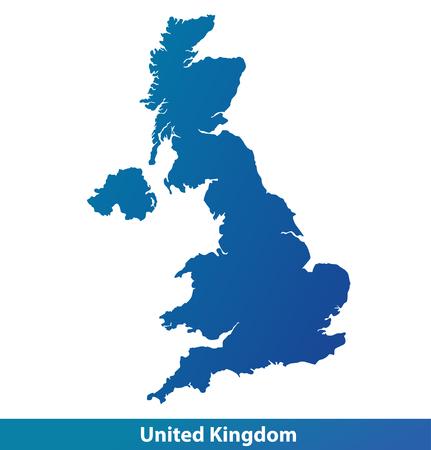 Mapa UK (Wielka Brytania). Sylwetki na białym tle. Ilustracje wektorowe