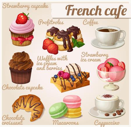 Conjunto de iconos de alimentos. Café francés. Magdalena del chocolate, Profitroles, taza de café, capuchino, gofres vieneses, croissant de chocolate, macarrones, helado de fresa Ilustración de vector