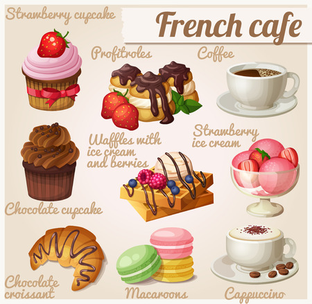 cartoon berries: Set of food icons. French cafe. Chocolate cupcake, profitroles, cup of coffee, cappuccino, Viennese waffles, chocolate croissant, macaroons, strawberry ice cream