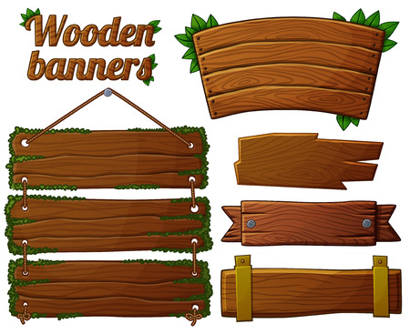 on the ropes: Set of dark wooden banners 2. Cartoon vector illustration.