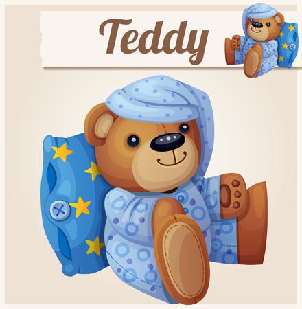 Teddybeer in pyjama met een kussen. Cartoon vector illustratie.