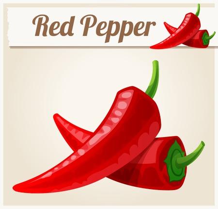 cocina caricatura: Pimientos picantes rojos. Icono detallado del vector. Serie de comida y bebida y los ingredientes para cocinar. Vectores