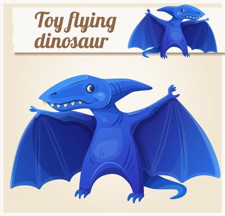 pteranodon: Toy flying dinosaur 7. Cartoon vector illustration. Series of childrens toys