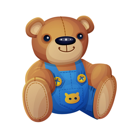 teddy: Teddy bear in overalls isolated on white background. Cartoon vector illustration