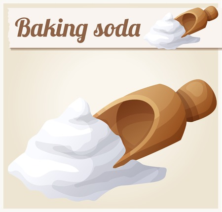 soda: Baking soda. Detailed Vector Icon. Series of food and drink and ingredients for cooking.