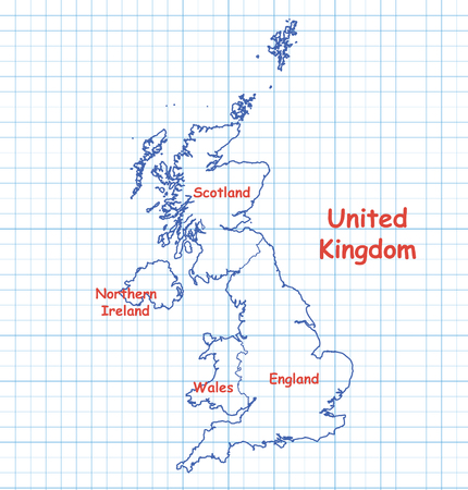 blue pen: Map of UK (United Kingdom) drawn with blue pen on a piece of school notebook. Illustration