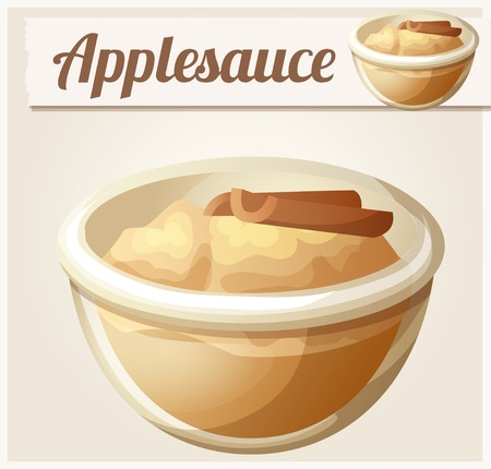 apple cinnamon: Applesauce. Detailed Vector Icon. Series of food and drink and ingredients for cooking.