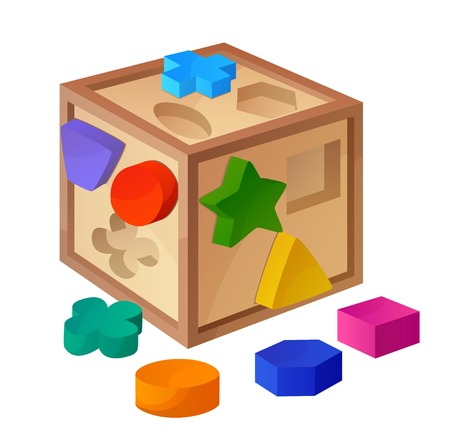 Shape sorter toy isolated on white background. Cartoon vector illustration. Series of children's toys