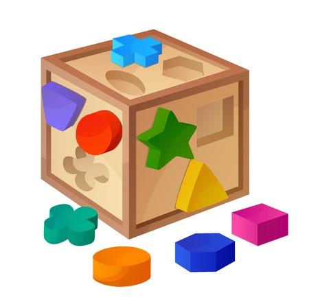 toy blocks: Shape sorter toy isolated on white background. Cartoon vector illustration. Series of childrens toys Illustration