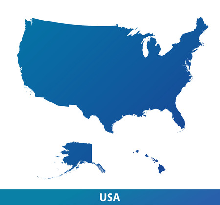 Map of USA. Silhouette isolated on a white background. Vectores