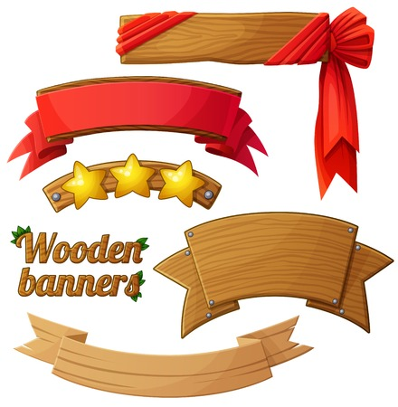 Set of light wooden banners 2. Cartoon vector illustration.