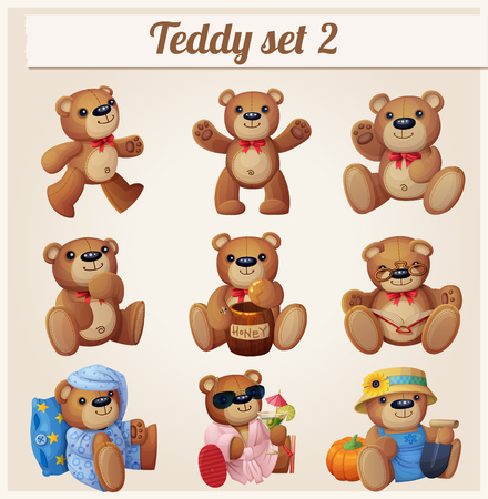 romantic picture: Teddy bears set. Part 2. Cartoon vector illustration