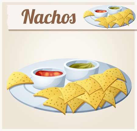 nachos: Nachos (Tortilla Chips). Detailed Vector Icon. Series of food and drink and ingredients for cooking.