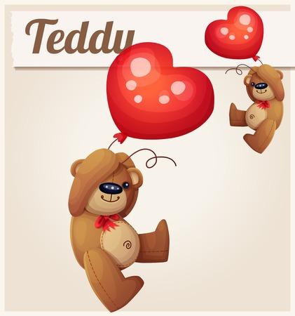 oso de peluche: Oso del peluche con el globo del corazón. Ilustración vectorial de dibujos animados.