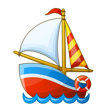 bateau voile: Sailing vessel isolé sur fond blanc. Vector cartoon illustration. Illustration