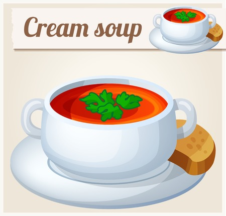broth: Cream soup. Detailed Vector Icon. Series of food and drink and ingredients for cooking.