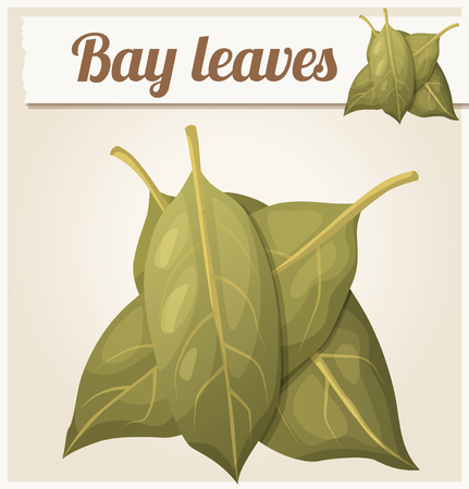 icon series: Bay leaves. Detailed Vector Icon. Series of food and drink and ingredients for cooking. Illustration