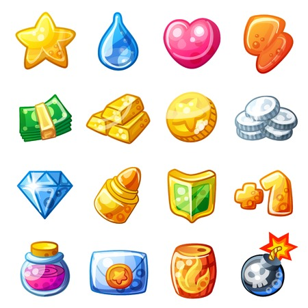 set: Cartoon resource icons for game user interface isolated on white background Illustration