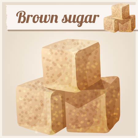brown sugar: Brown sugar. Detailed Vector Icon. Series of food and drink and ingredients for cooking.