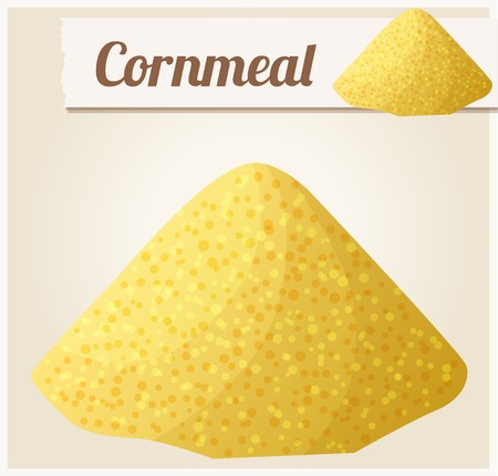 processed grains: Cornmeal. Detailed Vector Icon. Series of food and drink and ingredients for cooking. Illustration