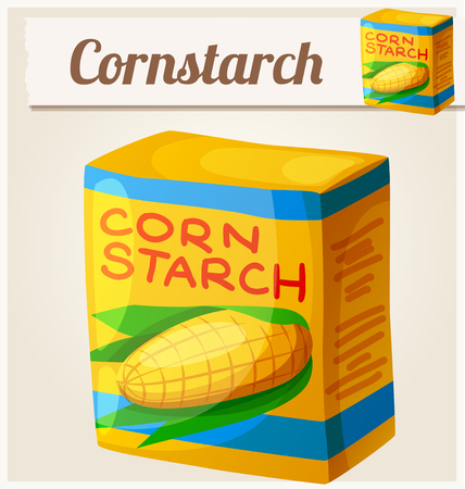 starch: Cornstarch. Detailed Vector Icon. Series of food and drink and ingredients for cooking.
