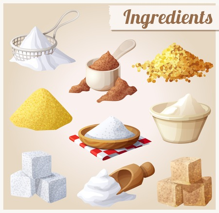 sugar powder: Set of food icons. Ingredients for cooking