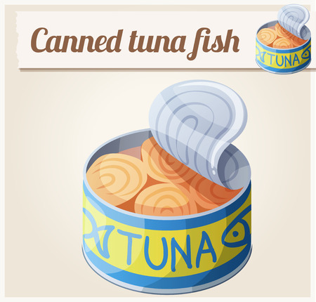 fish oil: Canned tuna fish. Detailed Vector Icon. Series of food and drink and ingredients for cooking.
