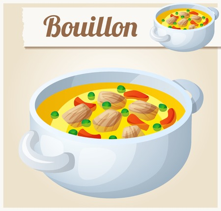 broth: Bouillon with meat and vegetables. Detailed Vector Icon. Series of food and drink and ingredients for cooking. Illustration