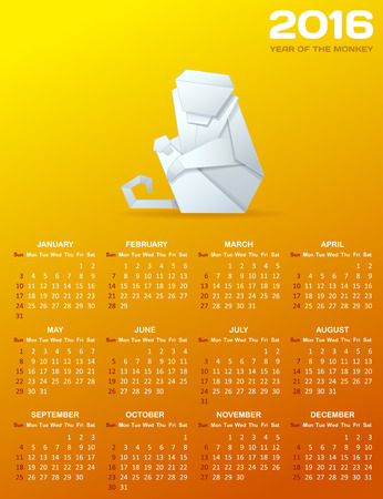 origami: Calendar for 2016 with a paper monkey. White origami monkey and white calendar grid on orange background