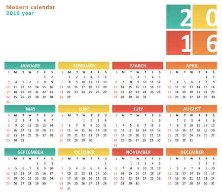 color pages: Flat calendar for 2016 year Illustration