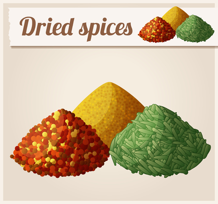 cumin: Dried spices. Detailed Vector Icon. Series of food and drink and ingredients for cooking. Illustration