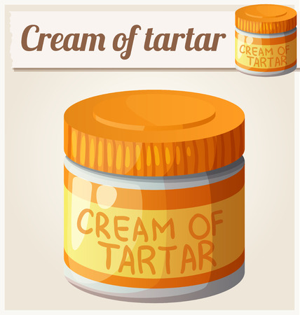 tartar: Cream of tartar. Detailed Vector Icon. Series of food and drink and ingredients for cooking. Illustration