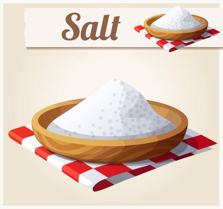 sal: Sal. Icono detallado del vector. Serie de comida y bebida y los ingredientes para cocinar.