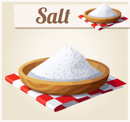 mineral salt: Salt. Detailed Vector Icon. Series of food and drink and ingredients for cooking.