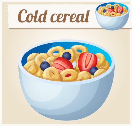 bowl of cereal: Cold cereal. Detailed Vector Icon. Series of food and drink and ingredients for cooking.