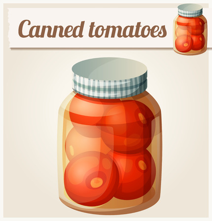 canned drink: Canned tomatoes. Detailed Vector Icon. Series of food and drink and ingredients for cooking.