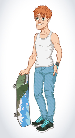 happy people white background: Vector Illustration of Cartoon Boy Skateboarder Illustration
