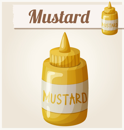 cooking icon: Mustard. Cartoon Vector Icon. Series of food and drink and ingredients for cooking. Illustration