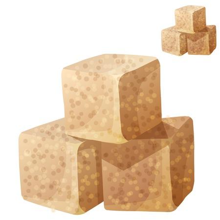 Le sucre brun isolé sur fond blanc. Détail icône vecteur. Série de nourriture et de boisson et des ingrédients pour cuisiner.