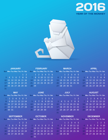 grid paper: Calendar for 2016 with a paper monkey. White origami monkey and white calendar grid on blue background