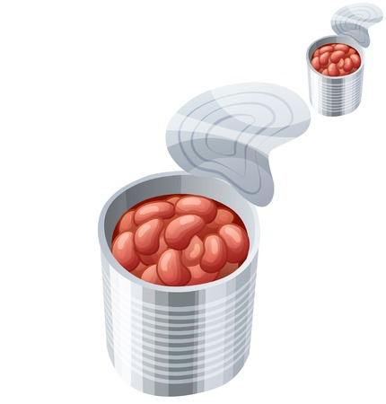 canned drink: Canned beans isolated on white background. Detailed Vector Icon. Series of food and drink and ingredients for cooking.